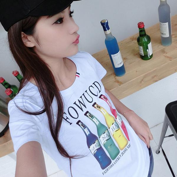 ◆快速出貨◆客製化.最佳情侶裝.純棉MIT.班服【YC551】短袖-彩色字母汽水瓶.艾咪E舖