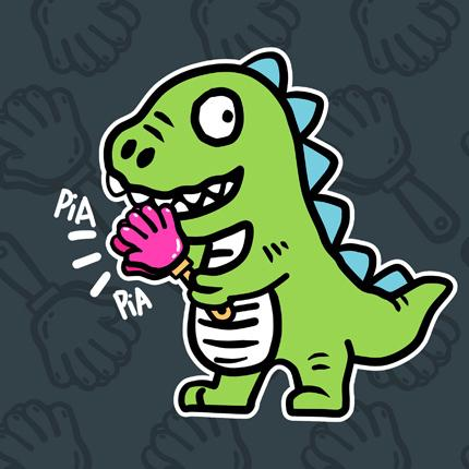 ◆快速出貨◆客製化.最佳情侶裝.純棉MIT.班服【Y0617】短袖-PIA PIA 拍手恐龍.艾咪E舖