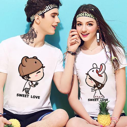 ◆快速出貨◆客製化.最佳情侶裝.純棉MIT.班服【Y0618】短袖-兔子帽 情侶.艾咪E舖
