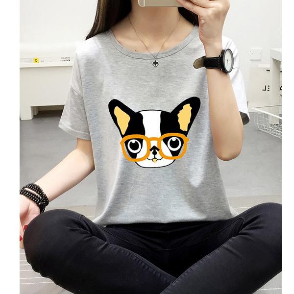 ◆快速出貨◆客製化.最佳情侶裝.純棉MIT.班服【Y0620】短袖-卡通橘鏡框小狗.艾咪E舖