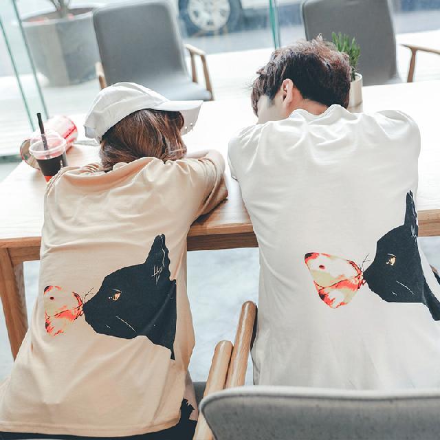 ◆快速出貨◆客製化.最佳情侶裝.純棉MIT.班服【Y0646】短袖-貓與蝴蝶.艾咪E舖