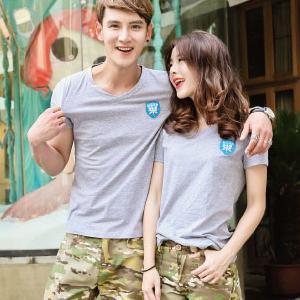 ◆快速出貨◆客製化.最佳情侶裝.純棉MIT.班服【Y0656-V】短袖-V領-左胸藍徽.艾咪E舖