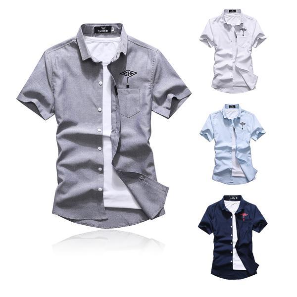 紳士風 襯衫 造型襯衫 情侶裝【M50261】菱形問號字母左胸口袋-修身 潮流襯衫艾咪E舖