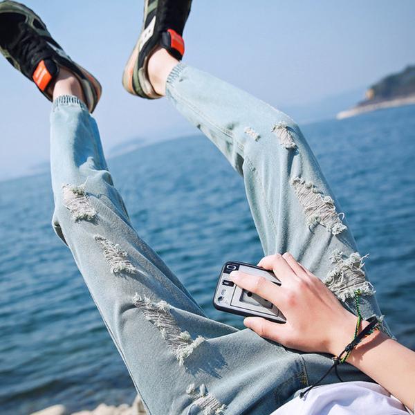 牛仔褲 長褲 小腳褲 修身款 淺色乞丐破褲【MA866】艾咪E舖 潮流褲 休閒褲 九分褲 小腳褲 修身款