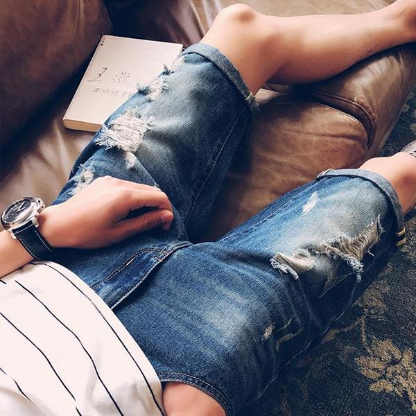 牛仔短褲 五分褲 馬褲 磨破 破壞 刷破 CL 磨砂牛仔短褲 【MYB006】艾咪E舖