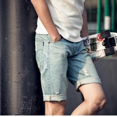 牛仔短褲 五分褲 馬褲 磨破 破壞 刷破 牛仔藍破洞牛仔短褲 【MYB7102】艾咪E舖