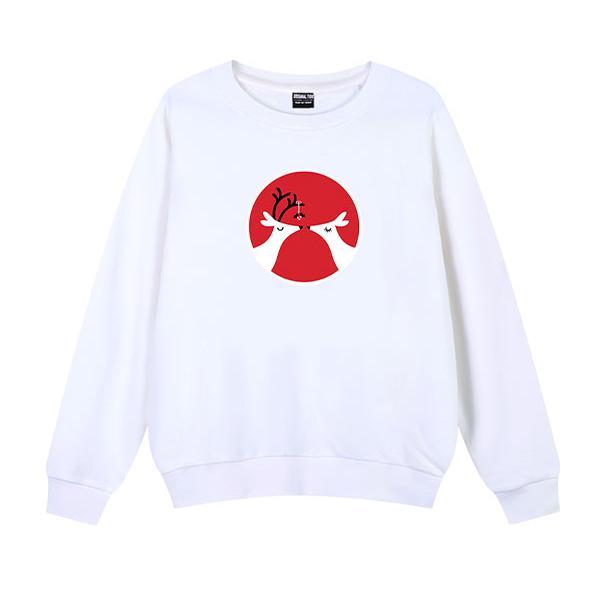◆快速出貨◆刷毛T恤 圓領刷毛 連帽T恤 暖暖刷毛 MIT台灣製【YS0768】刷毛- 情人雙鹿.艾咪E舖